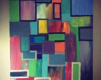 Colour Block, acrylic on canvas, 65cmx90cm
