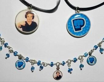 Pewdiepie Double Sided Necklace & Charm Bracelet