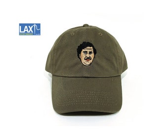 Pablo Escobar Face Embroidered Military Green Dad Cap