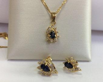 Sapphires and diamonds 14k yellow gold set