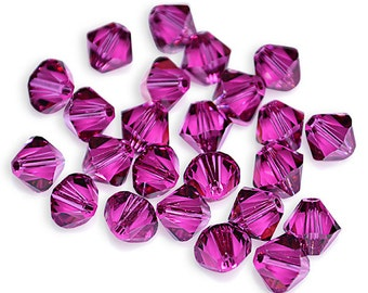 Swarovski Crystal Bicone Fuchsia Beads 5301/5328- Available in 4mm, 6mm