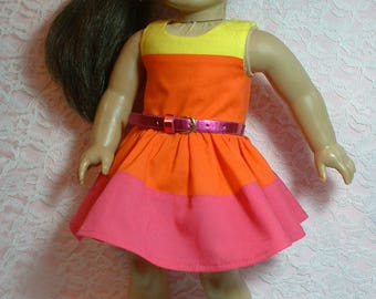 "Block Party Color Block Dress, 18"" doll clothes, fits American Girl Doll"