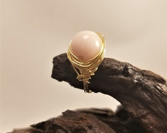 Gold wire wrapped ring, wire wrapped ring, size 7.5