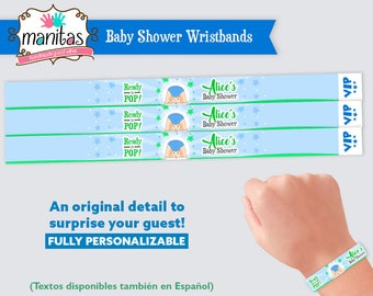 40 pack - Boy Baby Shower Wristband - Party Wristband - Custom Wristband - Personalized Wristband - Baby Shower Wristband - Boy Baby Shower