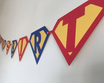 Superman Birthday Banner - Superhero Birthday Banner - Superhero Party - Supergirl Party- First Birthday