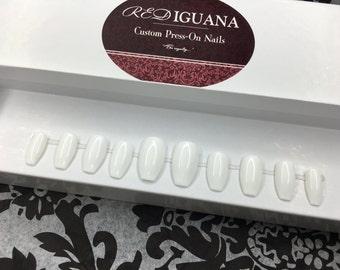 White Gloss Nails   Any Shape   Any Color