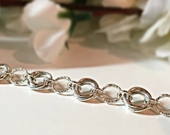 Sterling Silver Bracelet, Gift For Her, Chain Mail Bracelet, Silver Chainmaille, Chainmail Bracelet, Mobius Flower Bracelet, Unique Gift