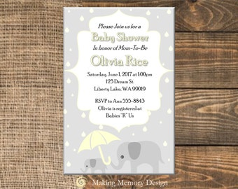 Yellow and Grey Elephant Baby Shower Invitation