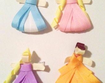 Princess hair bows, hair clips, set of  bows, ribbon sculpture  clips