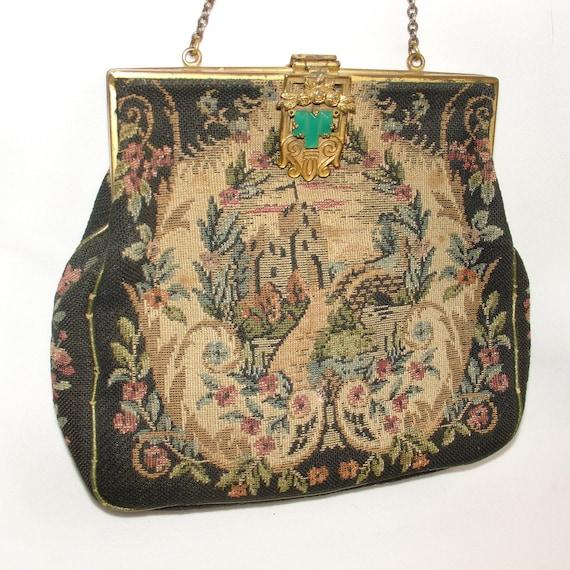 Antique Petit Point Tapestry Purse Metal Frame Evening Bag