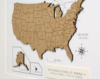 Custom Map of USA, Wood Cut map of USA, Custom America Map, Laser Cut Map, Custom Map Art, America Map Wall Art, USA Map Decor 8x10 or A4