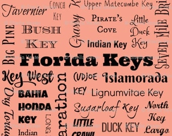 Florida Keys fabric - by the yard - coral, light robin's egg blue, light green, turquoise