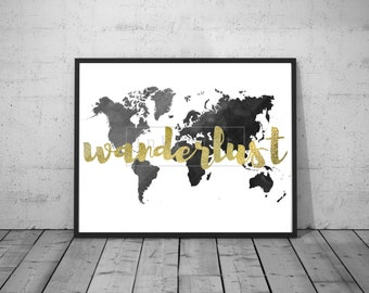 Printable Golden Wanderlust Watercolor World Map