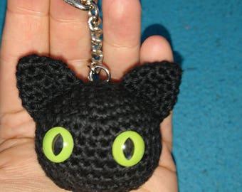 Small, black cat pendant, crochet