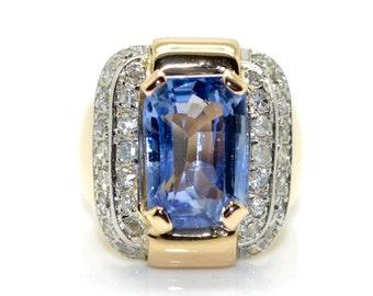 1940's natural Ceylon sapphire ring