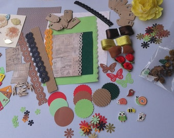 KIT SCRAPBOOKING / fall / scrapbooking accessories / buttons / flowers / tag / paper scrapbooking / tapes / 3D stickers