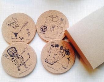 4 in 1 set coasters ( Kaffee, Tee Untersetzer)