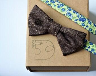 Brown Wool Bow Tie, mens bow tie, wedding bow tie, groomsmen bowtie, gift for him, gift for men, pre-tied bowtie, brown bowtie,luxury bowtie