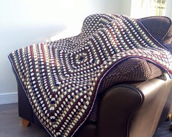 Large crochet blanket, Granny square crochet blanket, Home decor, House warming gift, New baby blanket, Lap blanket, Picnic blanket