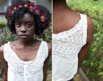 1910's Edwardian Silk and Lace Cropped Button Down Camisole