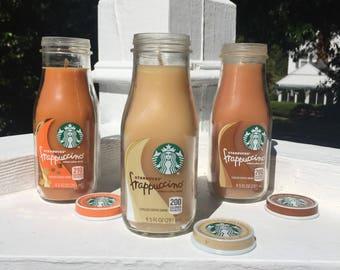 Pumpkin Spice/Hazelnut Caramel/French Vanilla/Peppermint/Latte Scented Starbucks Frappuccino Bottle Candle