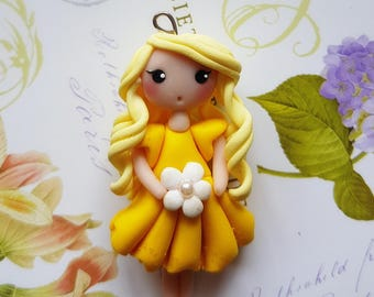Necklace doll yellow flower