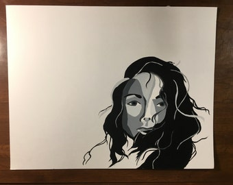Hair blowing in the wind painting