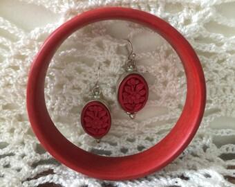 Vintage Red Cinnabar Bracelet & Earrings Set
