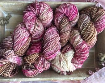 Hand Dyed Yarn   Worsted Weight Yarn   Superwash Merino Wool Yarn - Pink - Brown - Chocolate Cherries