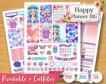 2017 2018 Purple Dreamy Girl Weekly Planner Stickers Digital Planner Kit Sticker Planner Girl Pastel Weekly Set Printable BIG Happy Planner