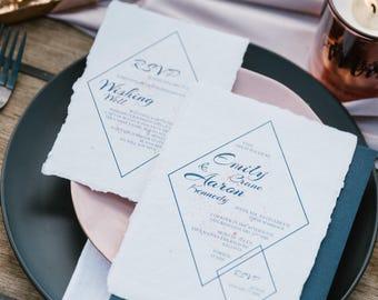 Wedding invitation | Recycled paper invitations | Handmade paper invitations | Custom invitations | Unique invitations | Indie handmade