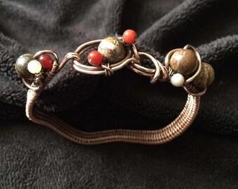Copper Bracelet, wire weaving.