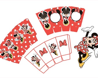 Minnie Mouse Party Birthday Small Candy Box Printable, Minnie Mouse Party Sweets Box Printable