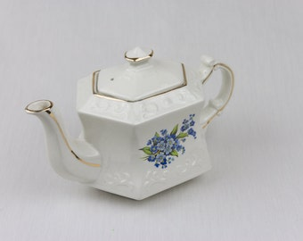 Vintage Teapot / Ellgreave Wood and Sons Embossed Hexagonal Teapot / England / Blue Flowers