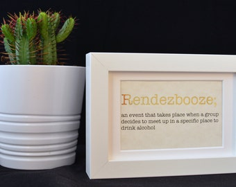 Urban Dictionary Wall Art / Rendezbooze Definition / Dictionary Art / Funny Definition / Word Art