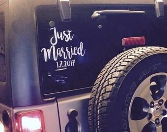 Just Married Window Cling || Newlyweds || Honeymoon || Just Married || Car Sticker || Rental Car || Wedding Gift