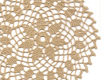Eco Friendly Crochet Doily Lace Lacy Doilies Elegant Linen Table Decor Rustic Shabby Chic Wedding Antique Retro Vintage Natural Brown
