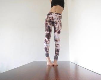 Brown leggings size XS tie dye leggings, pants, yoga pants, yoga leggings, Goa, Festival, yoga