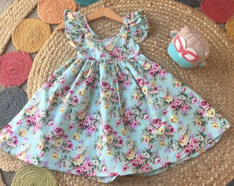 baby girl cotton dress - vintage - floral - brand new