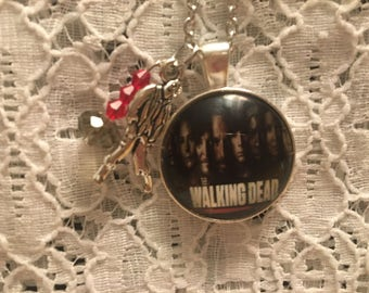 Walking Dead Glass Pendant Charm Necklace/Walking Dead Jewelry/Walking Dead Necklace