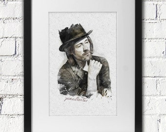 Digital watercolor Thom Yorke nice for interior to wall decor
