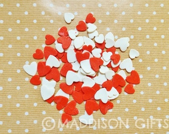 Hearts 3D Card Making Embellishments Red & White Heart Scrapbooking Paper Craft Supplies