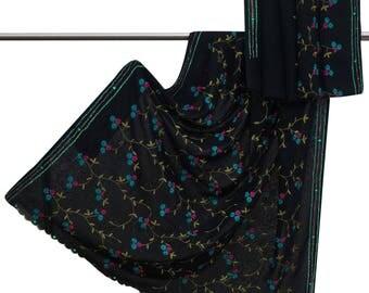 Antique Vintage Indian Georgette Craft Sari Black Used Embroidered Decorative Fabric Sarong Saree 5 Yard VGR6103