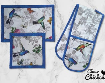 Oven Glove Mitt Hot Pad Kitchen Set Flowers Hummingbird Blue White Grey Mother's Day Gift Housewarming