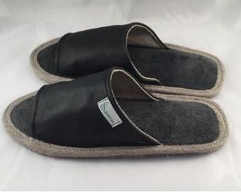 Women slippers, black slippers, leather slippers, cosy slippers, slippers for women, open toe slippers, female slippers, women house shoes