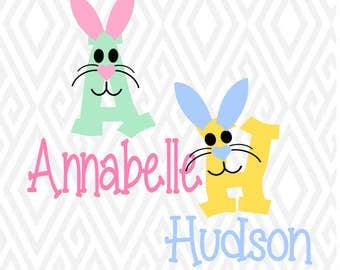 easter bunny letters cuttable design in svg dxf png ai pdf eps