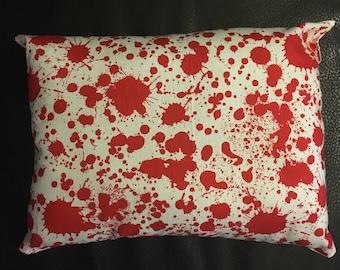 Small blood splatter throw pillow