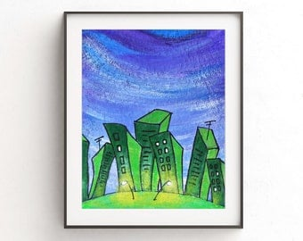 Instant download printable art print city painting green wall decor pop art urban town buildings modern print artwork home decor design