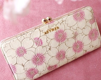 Aether Cherry Blossom Metal Snap Frame Leater Wallet