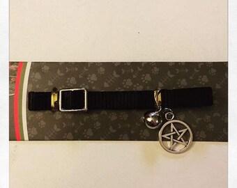 Cat collar with pentagram, black